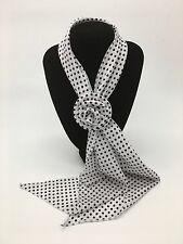 Small White with Black Spots Scarf with Removable Flower Clip