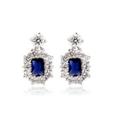 18K WHITE GOLD PLATED GENUINE SAPPHIRE BLUE CZ & AUSTRIA CRYSTAL DANGLE EARRINGS