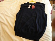 JOS A BANK Leadbetter Golf Navy Blue V-neck Men's Cotton Sweater Vest Large NWT!