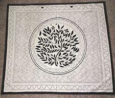 Rare Rare Shipibo Indians Art Hand Painted Ayahuasca Shaman Textile Black Ivory