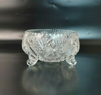 Vintage Bohemia Czech Crystal Footed Bowl Hand Cut Heavy Crystal
