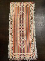 Vintage Table Runner Hand Woven Cotton Multicolor Fringe 31x14