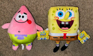 "Spongebob and Patrick Nickelodeon Stuffed 10"" Plush Doll 2020 Toy Set NEW w/Tags"