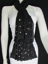 Women Black Trendy Soft Scarf Long Necklace Wrap Silver Metal Stars Studs