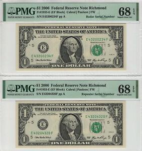 2- 2006 $1 FRN RICHMOND FR.1933-E REPEATER / RADAR SERIAL PMG SUPERB GEM 68 EPQ