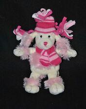Peluche doudou chien KEEL TOYS rose fushia crème bonnet  écharpe 20 cm TTBE