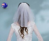 Women Girl white Bride HEN'S NIGHT Party Wedding lace Hair head Short Veil PROP