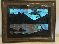 ANTIQUE RIO DE JANEIRO IRIDESCENT BUTTERFLY WINGS W/BEAUTIFUL PAINTED WOOD FRAME
