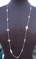 """NEW $495 Melinda Maria Gold-plated Necklace Labradorite Stations CZ 36"""" Long"""
