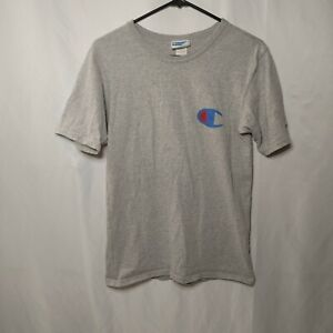Vintage Champion Classic Simple Logo T Shirt Gray Adult Size Small