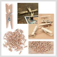 100Pcs 2.5CM Mini Wooden Clothes Photo Paper Peg Pin Clothespin Craft Clips