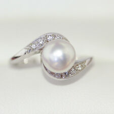 Beautiful large round Cultured Pearl Ring with White Diamonds on Assymetric band