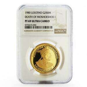 Lesotho 250 maloti Moshoeshoe I alligator corn PF-69 NGC gold coin 1980