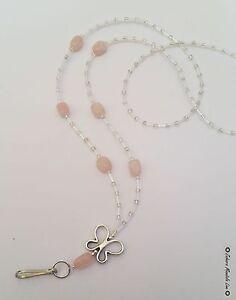🌸 Rose Quartz Butterfly ID Badge Holder HANDMADE Beads Lanyard Fashion Necklace
