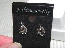 Unicorn Head Stud Earrings Small mini Silver tone New on card Nickel Free