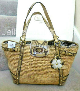 COACH 16839 Natalie Straw Reptile Leather Trim Flower Tote Bag Natural New Tag