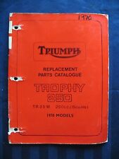 Triumph Factory Original Parts Manual 1970 250cc Trophy 250 TR25W TR 25 W