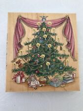 """Christmas Tree Stamp Victorian Decorated Holiday Craft 4.5"""" X 5"""" Rubber Happen"""