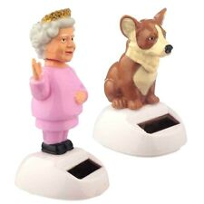 HRH Queen Elizabeth and Corgi Solar Powered Animated Figures Home Office Car NEW