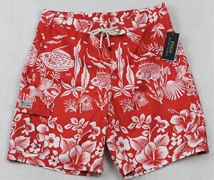Polo Ralph Lauren Swim Trunks Board Shorts Red Coral Fish S M NWT