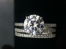 round diamond simulant Vvs D new real 925 Sterling Silver engagement ring 5ct