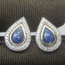 Solid 14kt White & Yellow Gold Natural Sapphire Natural Diamond Drop Earrings