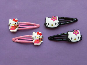 HELLO KITTY HAIR CLIPS 2 pairs SNAP CLIPS GIRLS Party Bag filler NEW