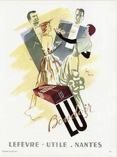 """""""BOUDOIR LU"""" Annonce originale entoilée PLAISIR DE FRANCE 1951 JAN BAR 28x36cm"""