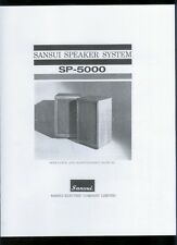 COPY Sansui SP-5000 Stereo Speakers Owner's Maintenance Manual