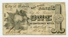 1862 $1 The City of Mobile at the Mobile Savings Bank - Alabama Note