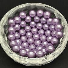 30pcs 10mm Purple No Hole Round Pearl Loose Acrylic Beads DIY Crafts Jewelry