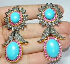 Diamond Ruby Turquoise Dangle Earrings 2.08ct Victorian Vintage Antique Rose Cut