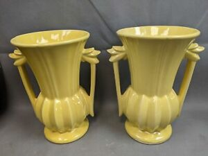 """Retro Vtg Hard to Find Matched Pair Yellow 9"""" McCoy Pottery Double Handle Vases"""