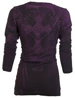 Archaic AFFLICTION Women LS T-Shirt REVIVE Cross BLK PURPLE Biker Sinful UFC $58