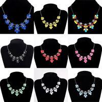 Fashion Women Pendant Chain Crystal Flower Choker Chunky Statement Bib Necklace