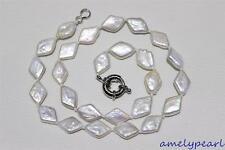 Natural White Prismatic  fresh water pearl necklace 10x15mm 17INCH