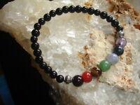 Chakra Crystal Stones Bracelet Natural Gemstones 8mm Beads Unisex Black Obsidian