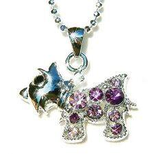 w Swarovski Crystal ~Purple Scottie DOG~~ WESTIE SCOTTISH Pendant Chain Necklace