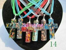 6pcs New Wonen Colorful Murano Lampwork Glass Cross Ribbon Pendant Necklace