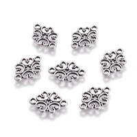 50pcs Tibetan Alloy Flower Charm Connectors Filigree 1/1 Loop Links Silver 18mm