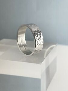 Sterling Silver 925 6mm Wide Sparkly Hammered Ring Sizes H-Z  Handmade In UK