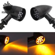 2X Bullet Motorcycle LED Turn Signal Lights Amber Blinker Indicators Black Metal