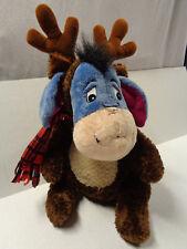 Eeyore Reindeer Christmas Plush Disney Store Exclusive Brown Antlers Scarf Large