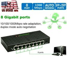 8 Port Gigabit Network Switch Ethernet 10/100/1000Mbps Fast Vlan Network Lan Hub