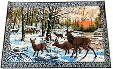 """Vintage Deer Stag Fawn Reindeers Forest Velvet TAPESTRY Made In Italy 48"""" X 76"""""""