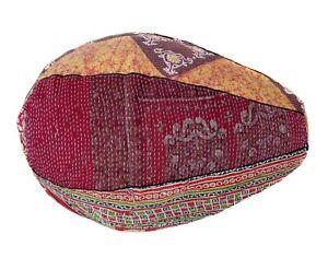 Handmade vintage Cotton Floral Bohemian Bean Bag Pouffe hassock seat BC87