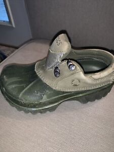 Crocs Duck Shoe Leather Upper Lace Up Size M 3 W 5 Garden Camping All Weather