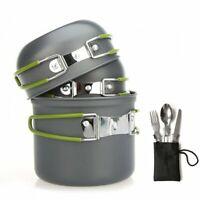 Kepeak 9PCS Outdoor Camping Cookware Backpacking Cooking Picnic Bowl Pot Pan Set