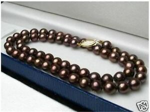 "Charming 8mm Brown South Sea Shell Pearl Round Gemstone Necklace 18"" AAA"