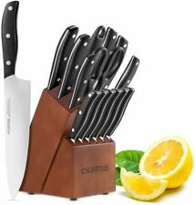 15 Pieces German Stainless Steel Kitchen Knife Set Knives Set with Block Wooden
